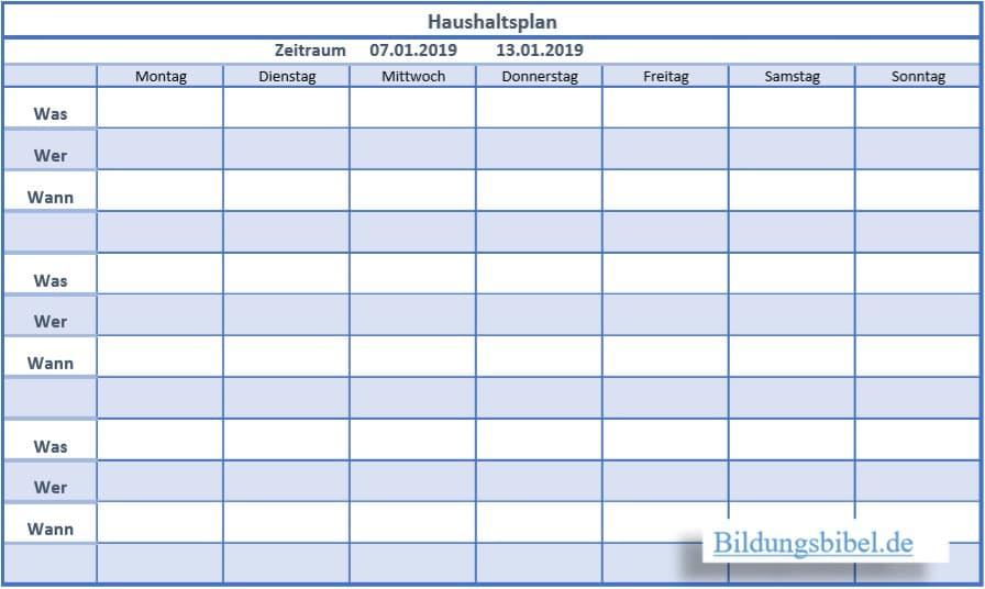 Die Haushaltsplan Vorlage, Muster oder Beispiel für die Familie, Kinder sowie den Haushalt kostenlos downloaden