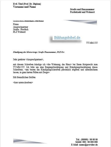 Die Kündigung vom Mietvertrag Vorlage, Muster, Beispiel für das Kündigungsschreiben kostenlos downloaden