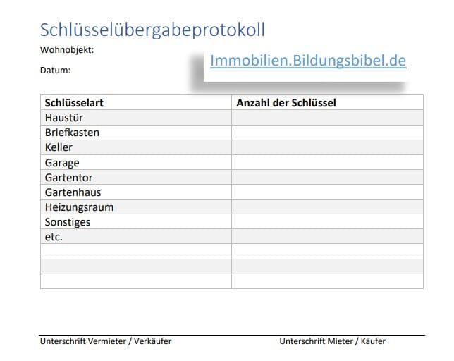 Schlüsselübergabeprotokoll, Schlüsselübergabe Vorlage Muster Download als Word Vorlage oder PDF
