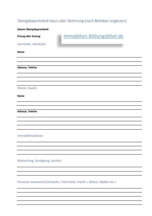 Das Übergabeprotokoll für Immobilien, Wohnung oder Haus, Inhalte, Tipps, Muster sowie Vorlage kostenlos downloaden